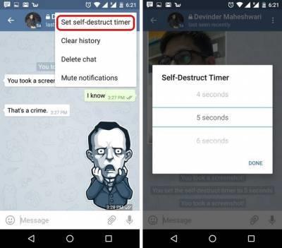 Настройка таймера самоуничтожения для диалога в Telegram