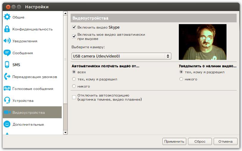 Настройка камеры в Skype для Linux