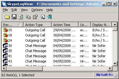 Программа SkypeLogView