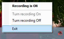 Контекстное меню MP3 Skype Rekorder в области уведомлений
