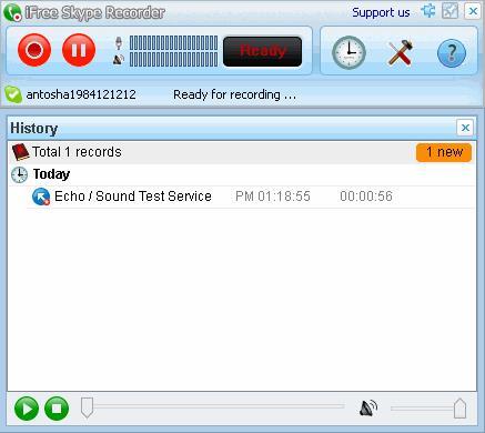 Показываются все записанные когда-либо разговоры в Skype