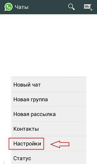 "Меню ""Настройки"" в приложении WhatsApp"