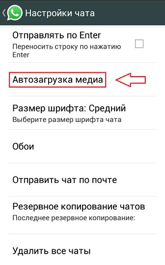 """Меню """"Автозагрузка медиа"""" в приложении вацап"""