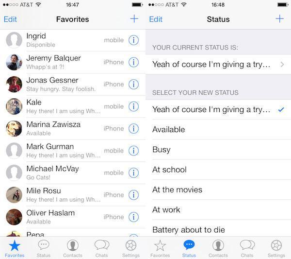 Работа WhatsApp на iPad