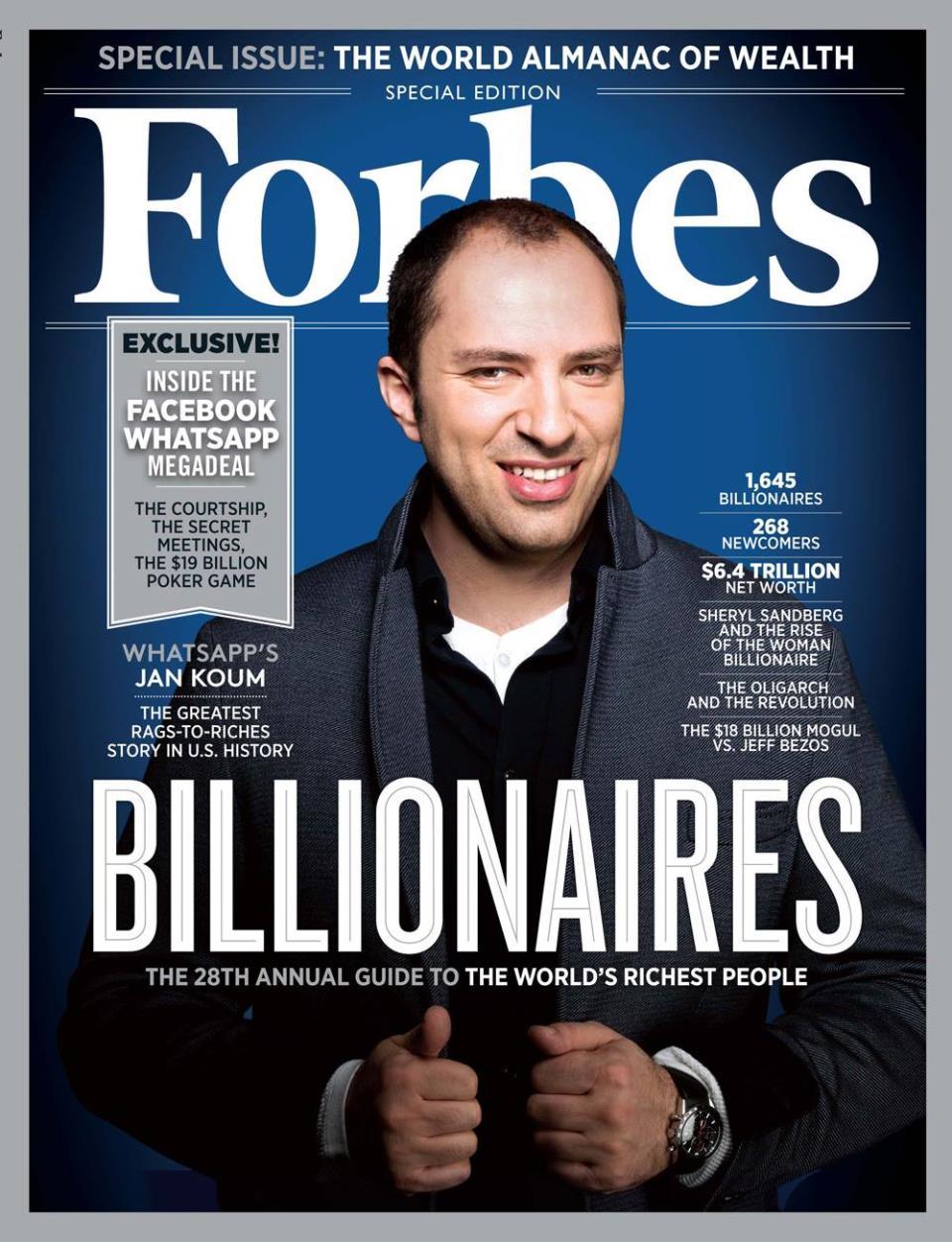 Ян Кум на обложке американского Forbes