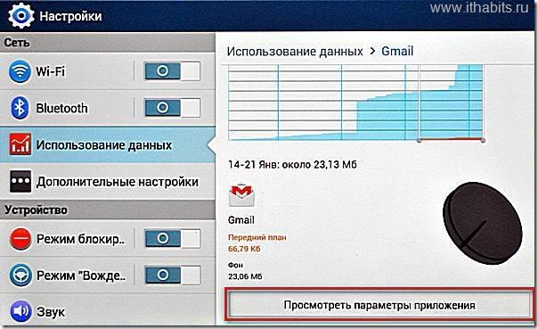 Параметры gmail в Android 4.2