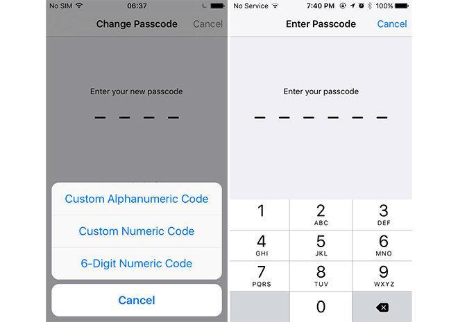 Простой пароль блокировки iPhone
