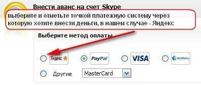 внесения денег на счет skype