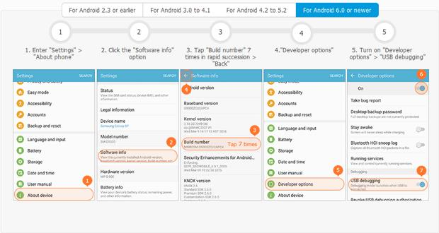 Enable USB debugging for Android phones and tablets running Android 6.0 or later