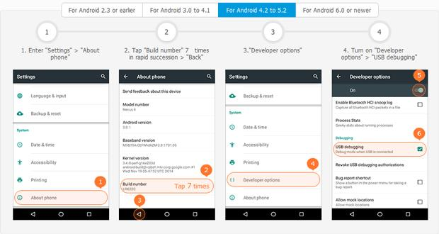 Enable USB debugging for Android phones and tablets running Android 4.2 to 5.2