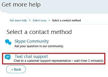 text chat support skype