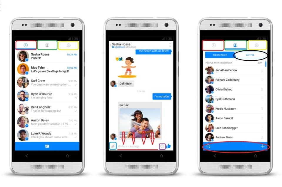 Интерфейс Facebook messenger на мобильном телефоне