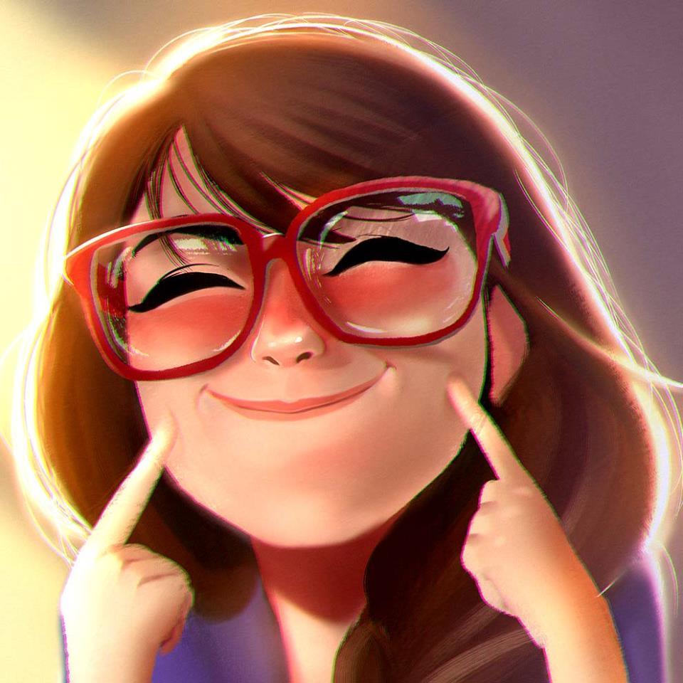 Задорная улыбка, красные очки на аву