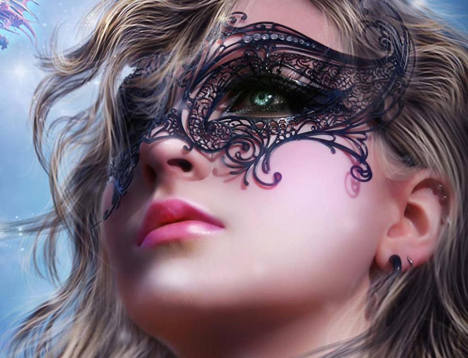 Картинка красивого женского лица с маской феи на аватарку