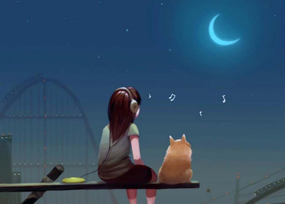 Мы с моим котом вдвоем сидим и смотрим ночью на месяц ясный