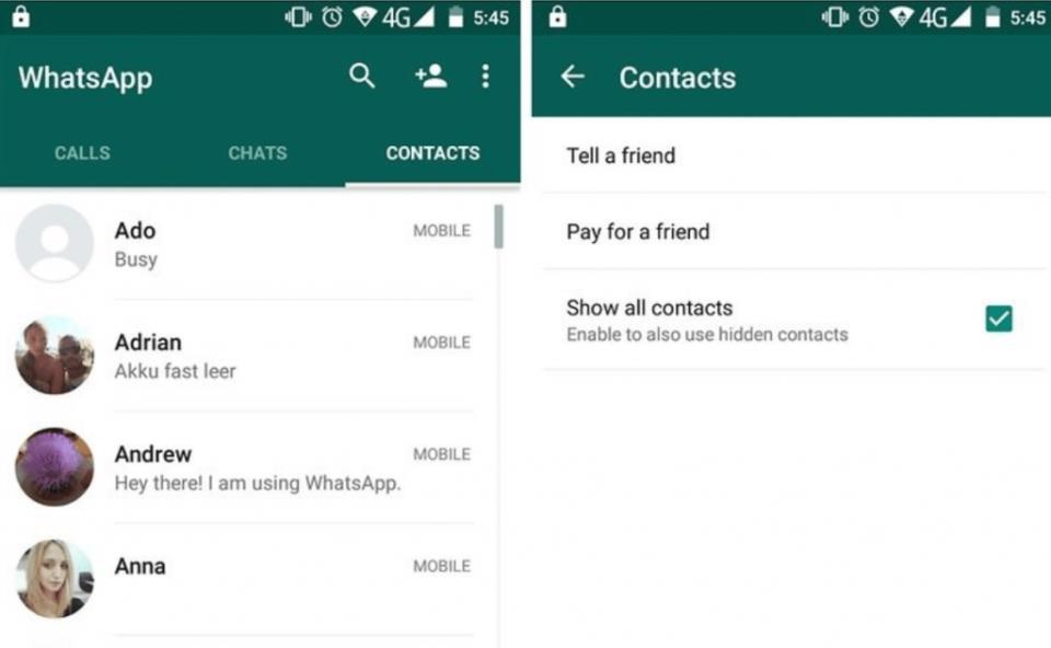 Добавление контакта в чат WhatsApp