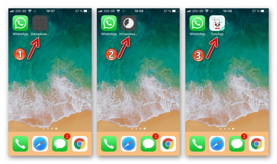 WhatsApp для iPhone TutuApp для установки второго мессенджера инсталлирован