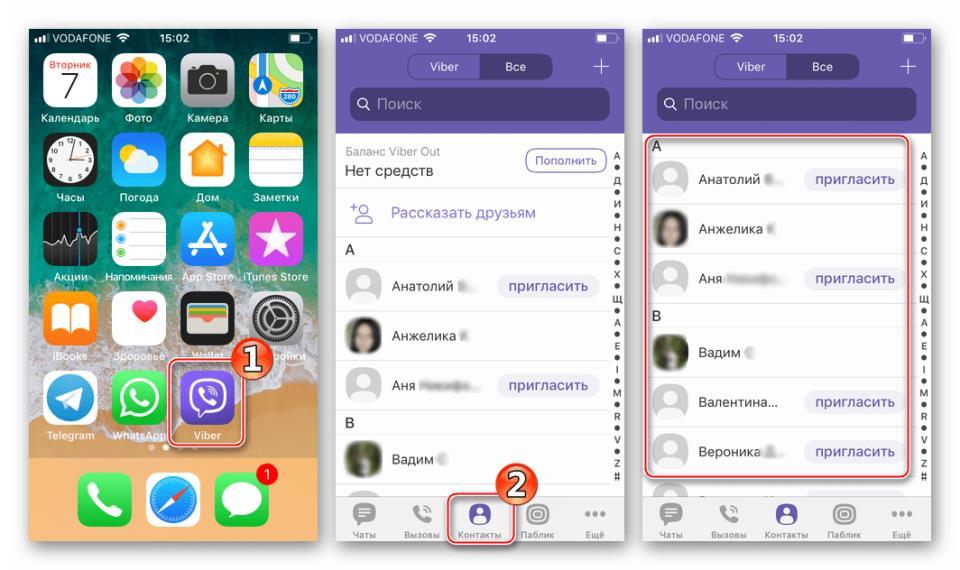 Viber для iPhone синхронизированные с телефонной книгой iOS контакты