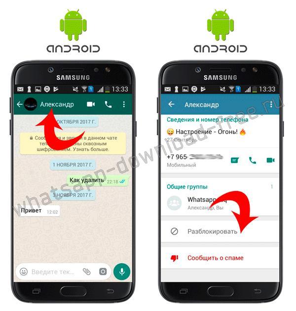 Разблокировать контакт в WhatsApp на Android в настройках контакта