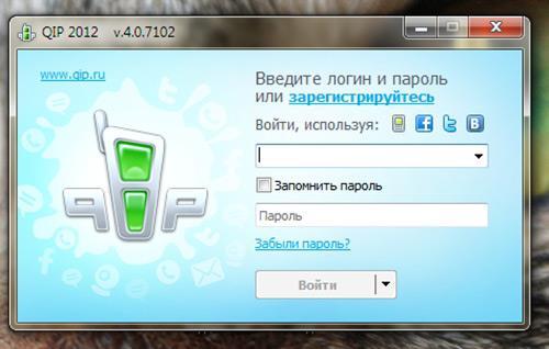 Форма ввода данных ICQ