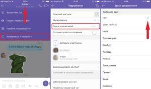 Отключение звука в Viber для одного контакта на iPhone
