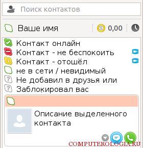 Сетевой статус контакта в Skype