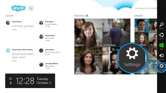 где настройки skype windows 8