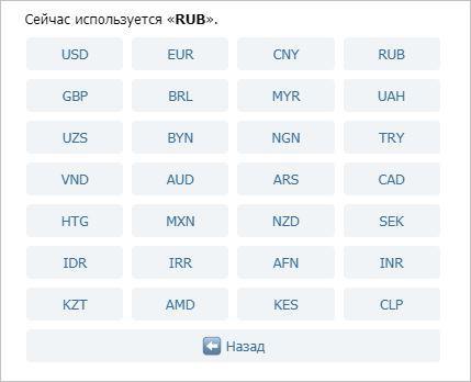 Виды валюты