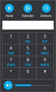 Панель набора номера для передачи вызова в Skype для бизнеса