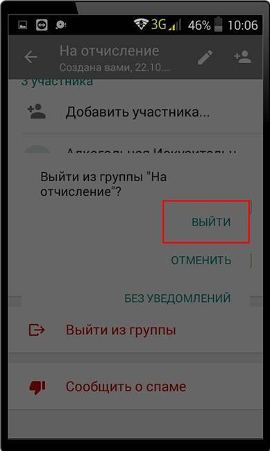 Выбор как покинуть группу в WhatsApp