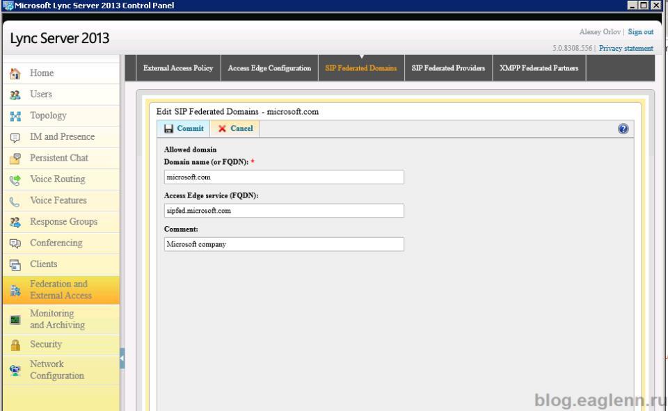 Lync 2013 Federation microsoft.com