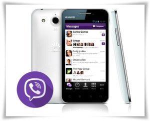 Логотип Viber и смартфон HUAWEI
