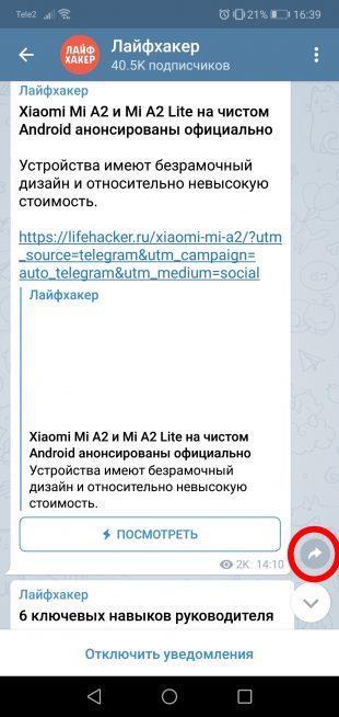 про «Телеграм»: Раздел «Избранное»