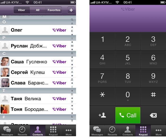 Контакты в приложении Viber