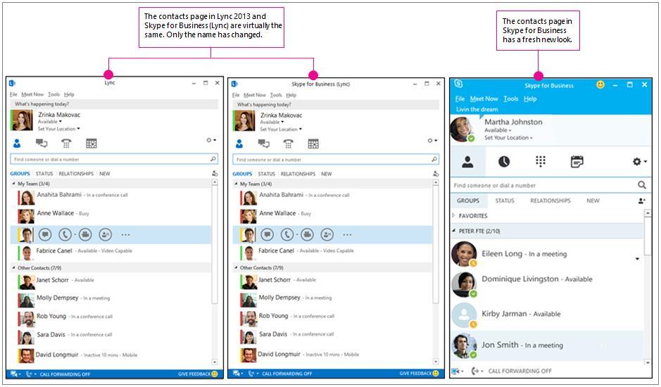 Наглядное сравнение страницы контактов Lync2013 и страницы контактов Skype для бизнеса