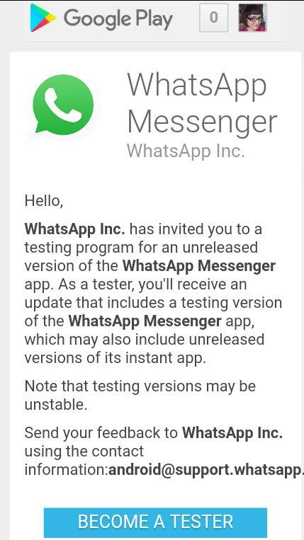 Бета-тест WhatsApp