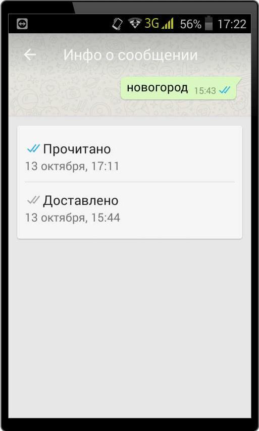 Информация о сообщении в WhatsApp
