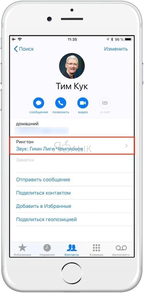 Как изменить рингтон на iPhone для отдельных контактов