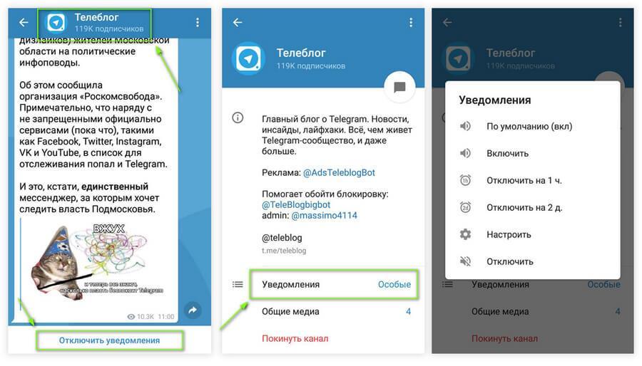 картинка: как отключить звук в каналах в telegram android