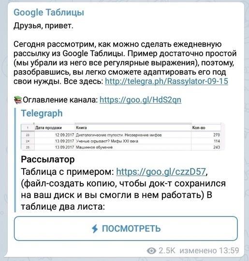 Пример поста канала Google Таблицы
