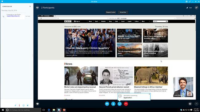 skype meeting window