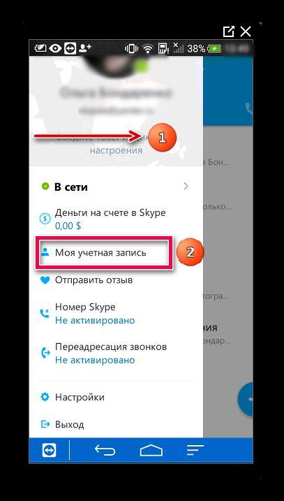 Моя страница Skype в мобильном приложении