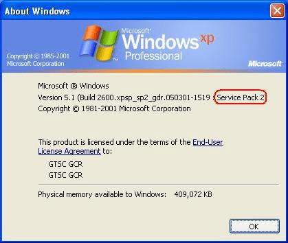 Windows Serveice Pack 2