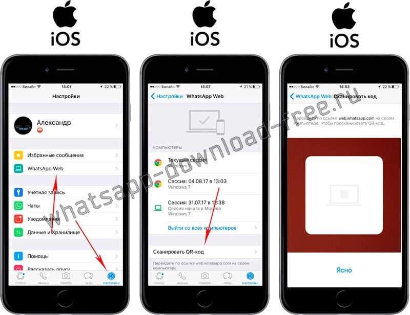 Сканировать qr-код в WhatsApp на Iphone
