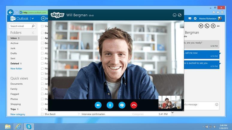 Skype на сайте Аутлук
