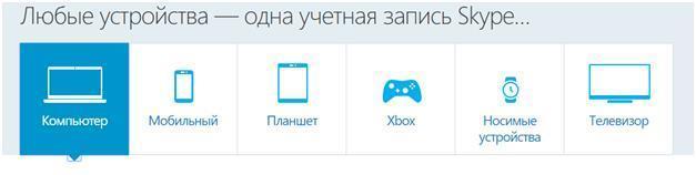 Любые устройства — одна учетная запись Skype...
