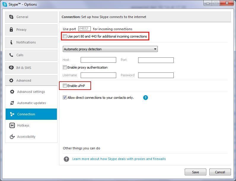Skype-выключить 80 и 443 порт