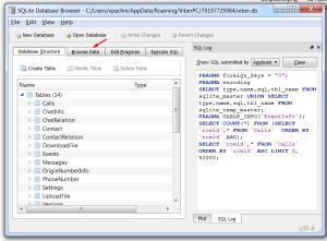 В окне SQLite переходим в меню Browse Data