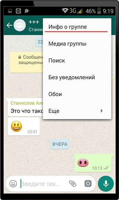 Редактирование группового чата WhatsApp