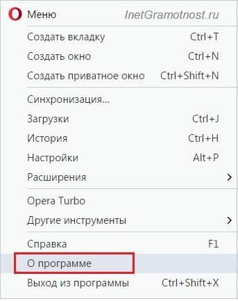 меню Opera О программе